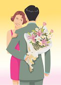 guy hiding a bouquet of flowers in his back with girl smiling and very excited.