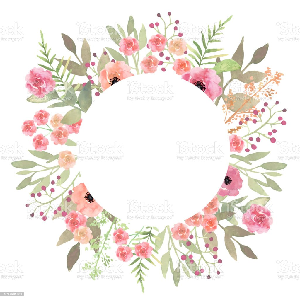 flowers frame circle roses card on white backdrop hand