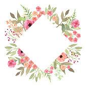 Flowers frame rhombus roses. Card on white backdrop. Hand drawn powder flower vector background border.
