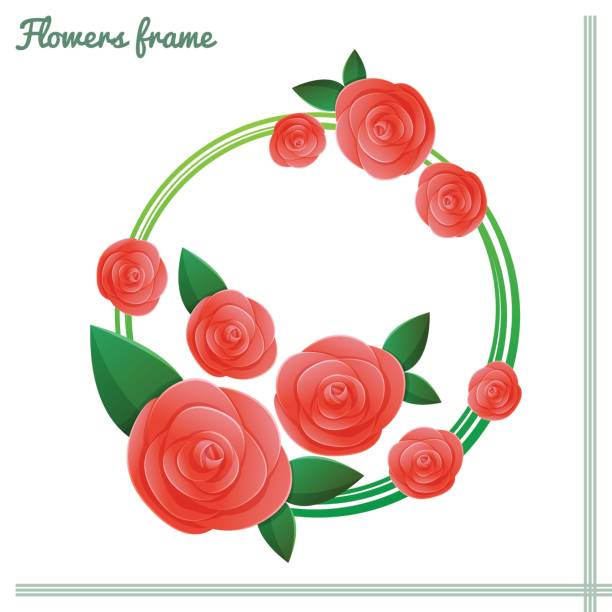 Flowers Frame Two Frame with roses around. On a white background. It can be used as invitations, greeting cards, banner. pacific dogwood stock illustrations