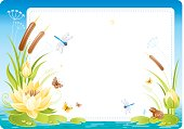 Colorful frame with lake flowers and animals - water lily, canes, little frog, butterflies and dragonflies for your special event. Big copyspace. Zip contains CDR-11, AI 10.