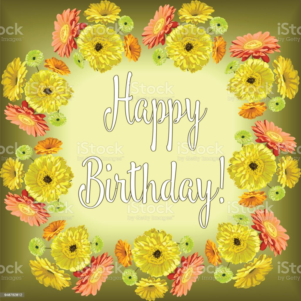 Flowers gerberaframe for congratulations happy birthday with text on flowers gerbera frame for congratulations happy birthday with text on green and yellow background izmirmasajfo