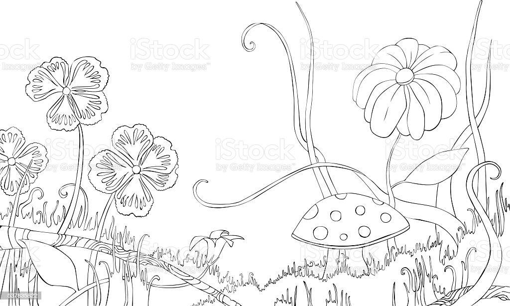 foto de Kwiaty Trawy I Grzybów Na Łące Kolorowanka Stockowe
