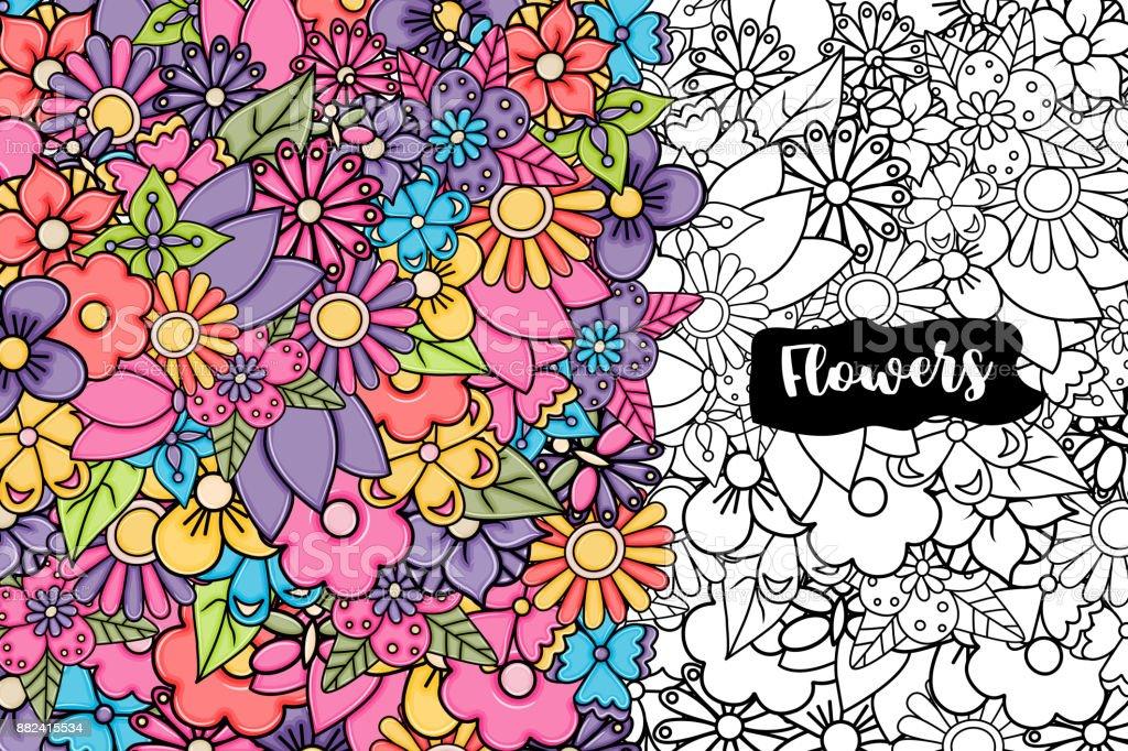 Ilustración de Flores Fondo De Tarjeta Historieta Dibujada A Mano ...