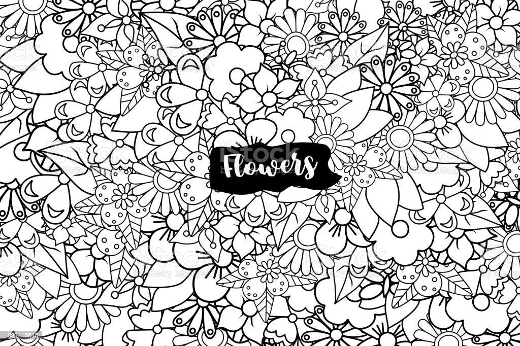 Blumen Hand Gezeichnete Cartoonkarte Hintergrund Frühling Oder ...