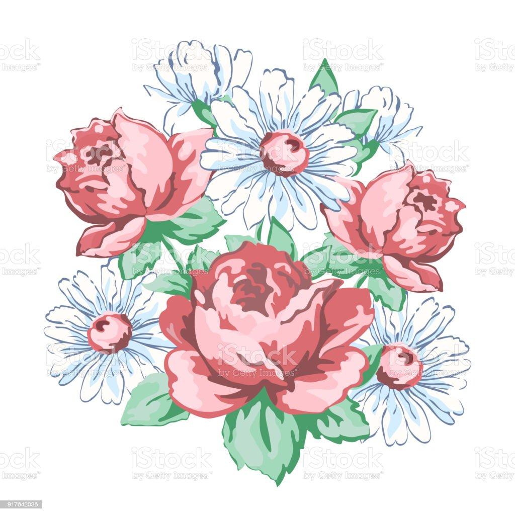 Vetores De Flores Bordado Floral Elaborado Projeto Tela Impressao