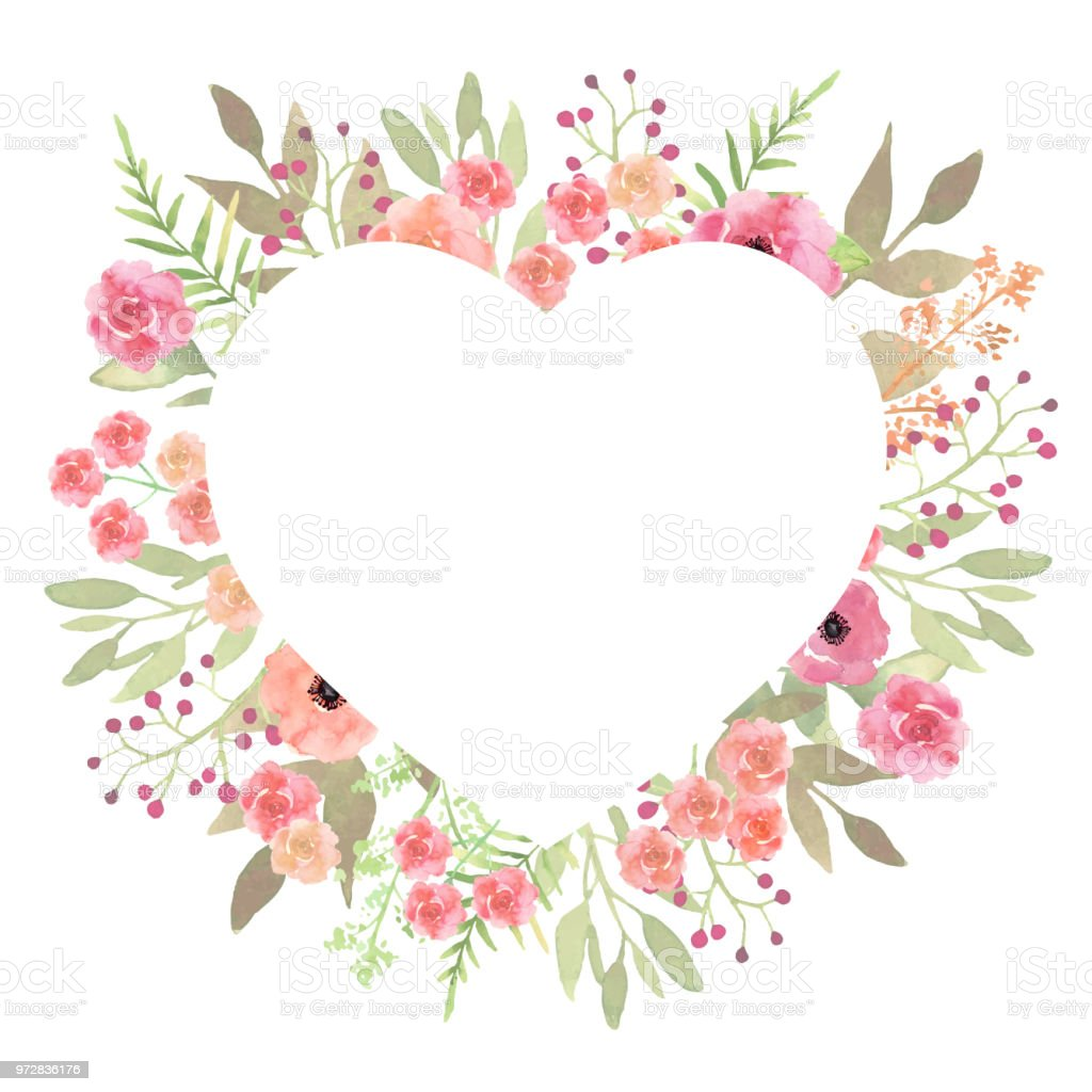 Flowers Heart Beautiful Paper Art Pink Design Template Romanti Stock