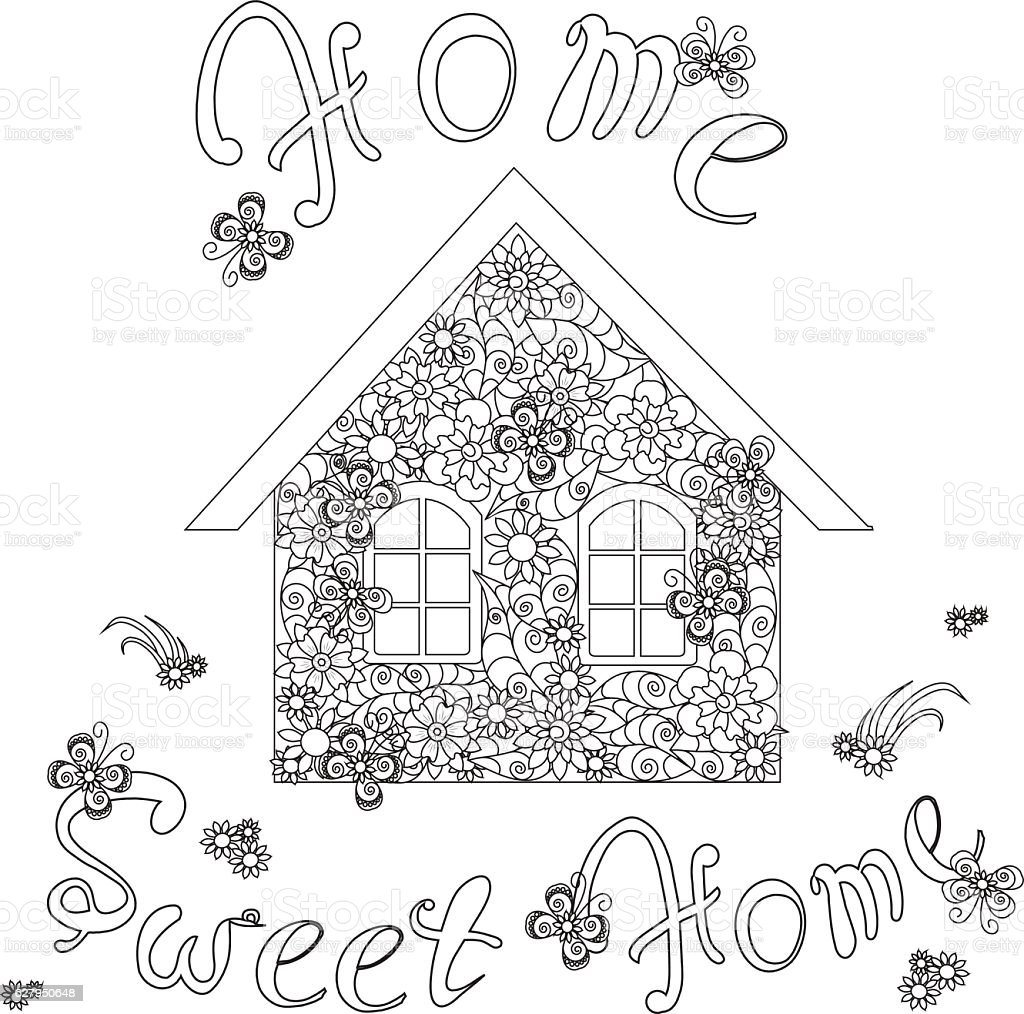 Flowers House With Lettering Home Sweet Home For Coloring Page Stock