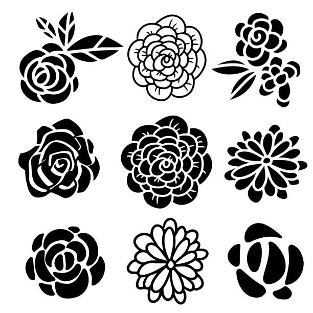 Flowers icons hand drawn set Flowers icons hand drawn black set isolated flower head stock illustrations