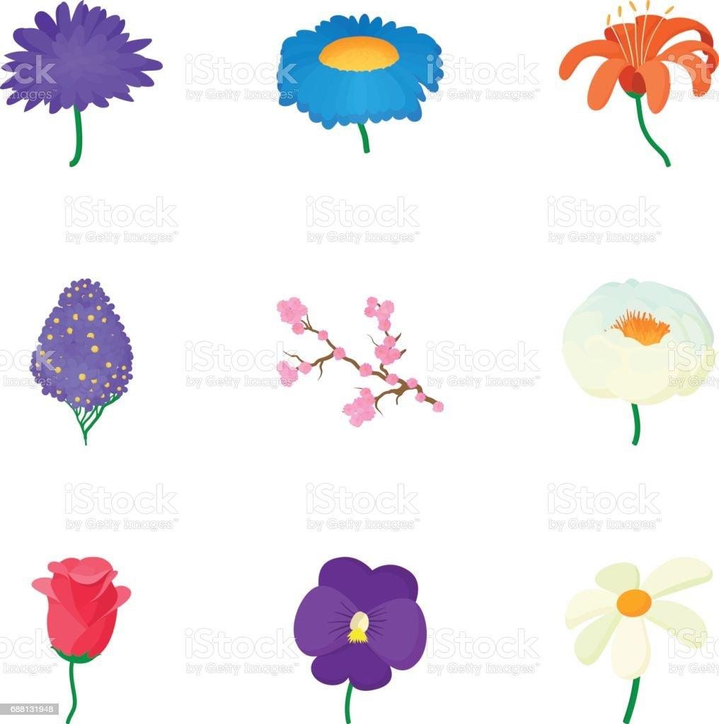 Flowers icons set, cartoon style vector art illustration