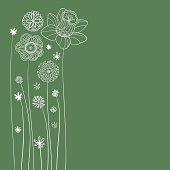 Flowers illustration in green