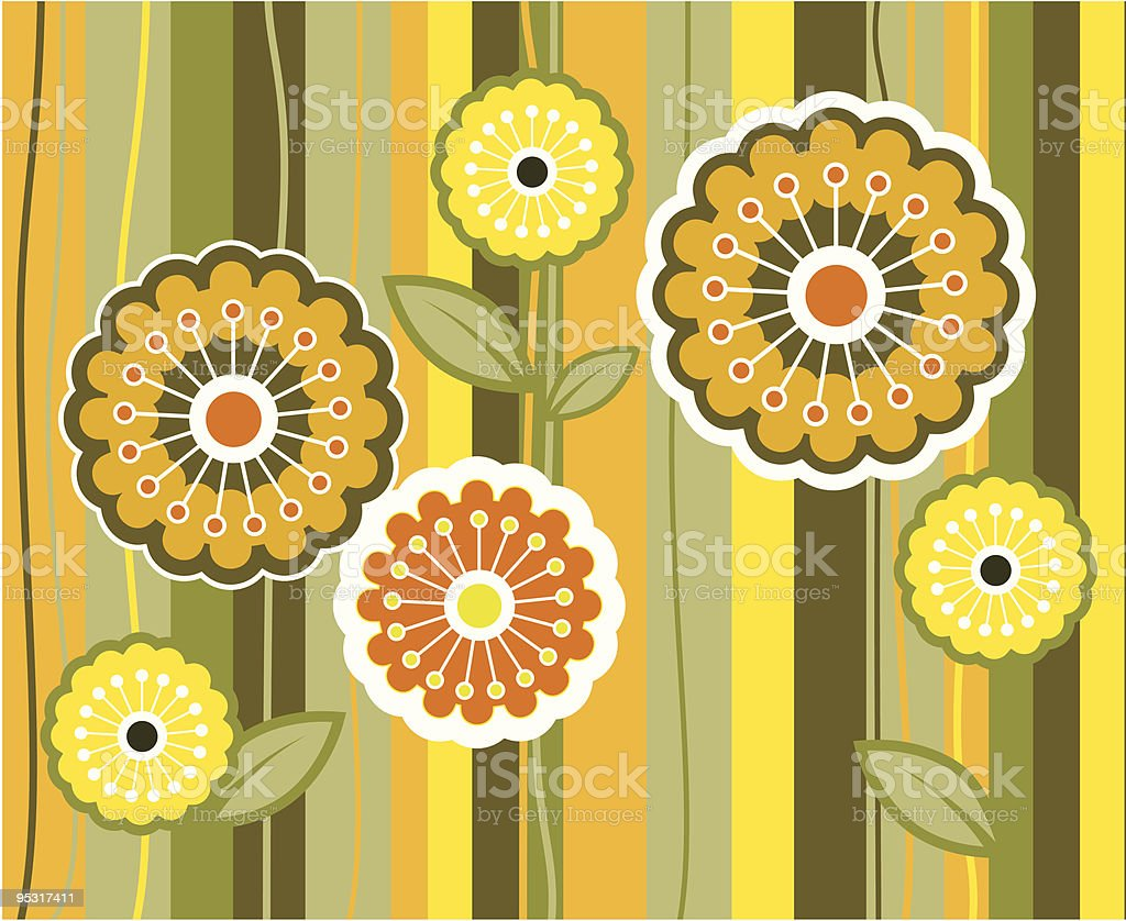 Anni 70 Colori fiori in colori degli anni70 - immagini vettoriali stock e