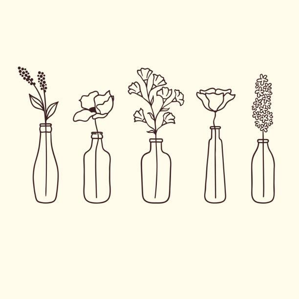 blumen in flaschen - glasblumen stock-grafiken, -clipart, -cartoons und -symbole