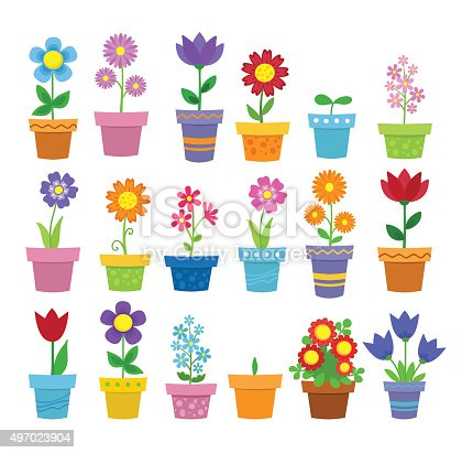 Flowers in pots - clip art. Vector illustration.