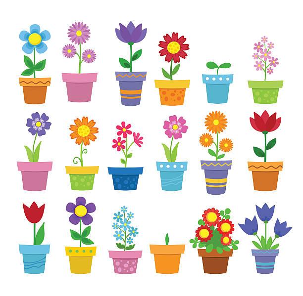 stockillustraties, clipart, cartoons en iconen met flowers in pots - clip art - bloempot