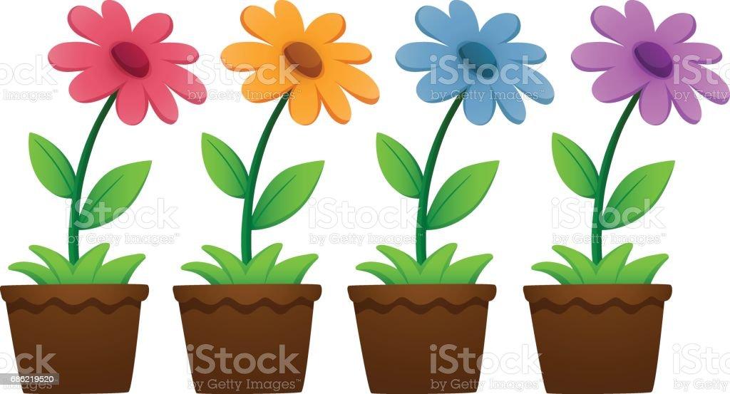 royalty free clip art of yellow flower pots clip art vector images rh istockphoto com flower pot clipart images planting pot clip art
