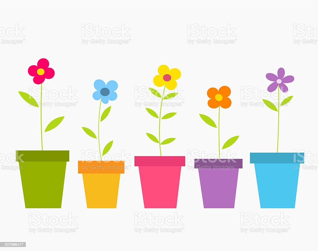 Flowers in pots vector art illustration