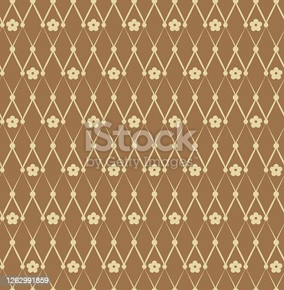 Seamless pattern of flowers and rhombs