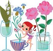 Elf sends Blowing Kiss. Cut Flowers in Cup, Wineglass, Jar. RGB, EPS10. Use transparency.