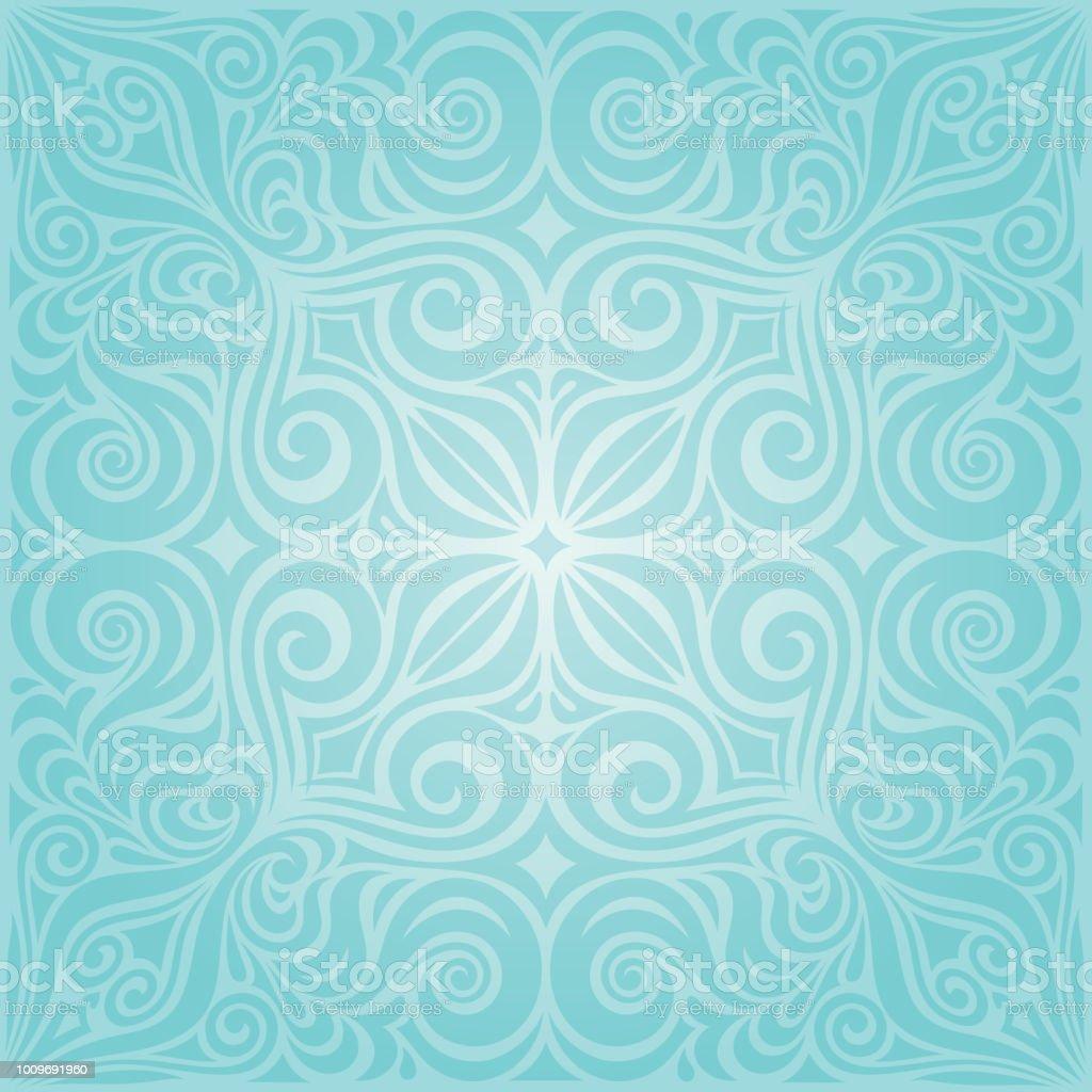 Ilustracao De Flores Em Turquesa Projeto Do Mandala Fundo Verde Azul