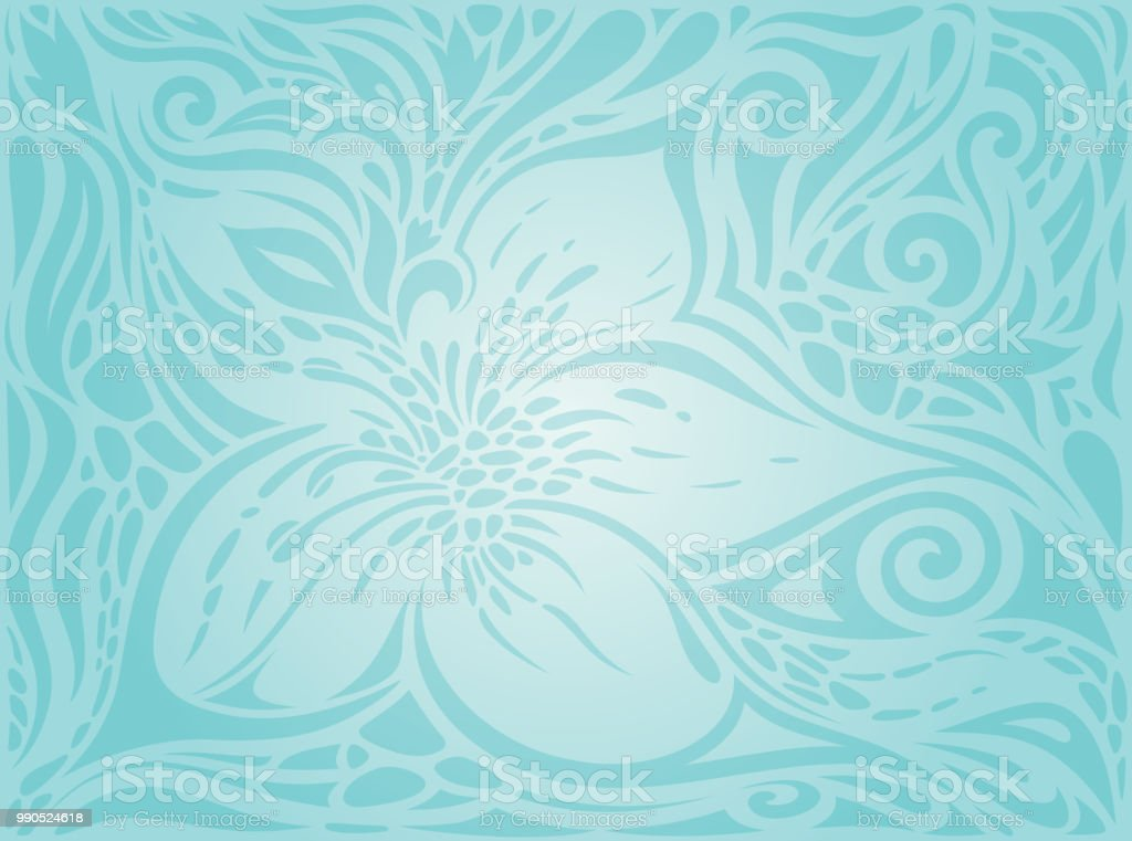 Blue Wedding Invitation Background: Flowers In Turquoise Green Blue Floral Vintage Invitation