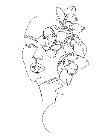 Flowers in woman head. Nature cosmetics. Black and white line drawing illustration.