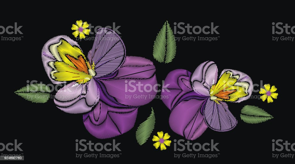 Flowers Isolated On Black Background Vector Illustration Embroidery
