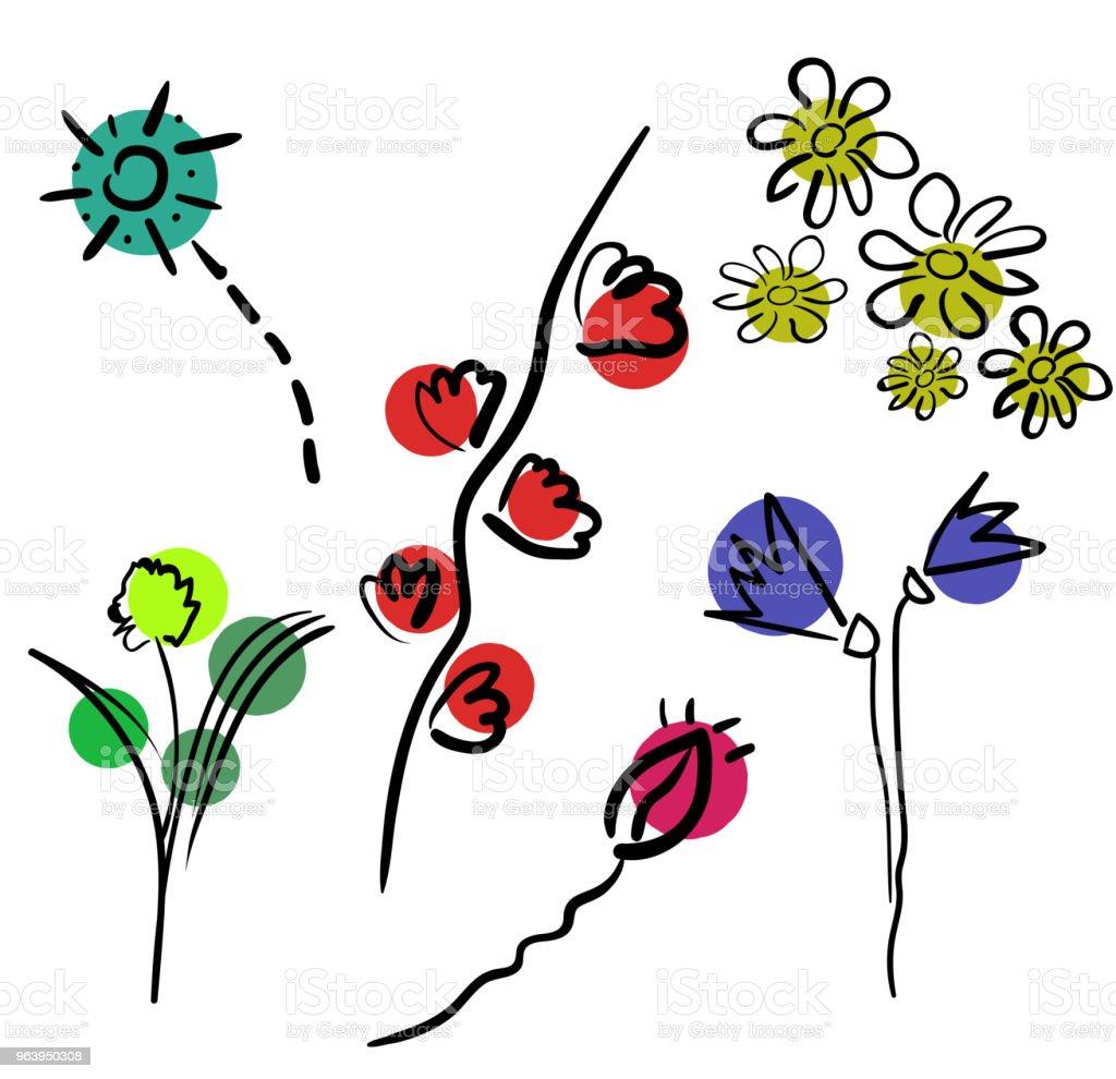 花は、白い背景で隔離。カラフルな花のアイコンのセットです。フラット ダージンク スタイルの花。 - イラストレーションのロイヤリティフリーベクトルアート