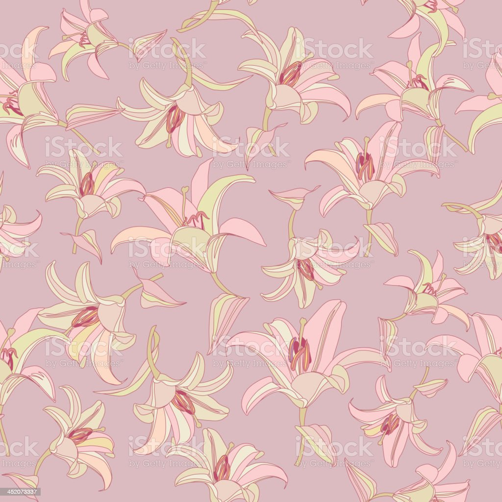 Flowers lily gentle seamless wallpaper royalty-free stock vector art