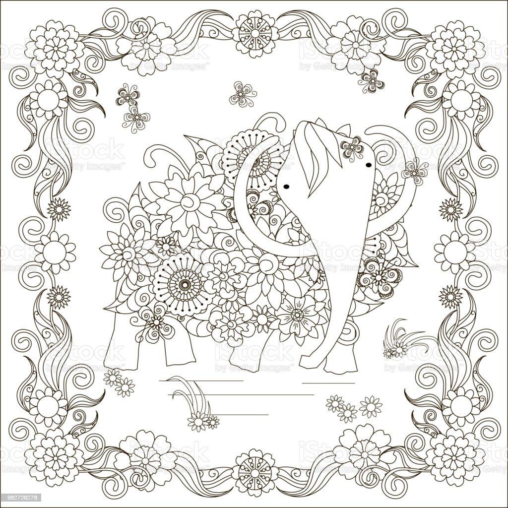 Coloriage Cadre Fleur.Mammouth Cadre De Fleur Fleurs Anti Stress Page A Colorier Vecteurs