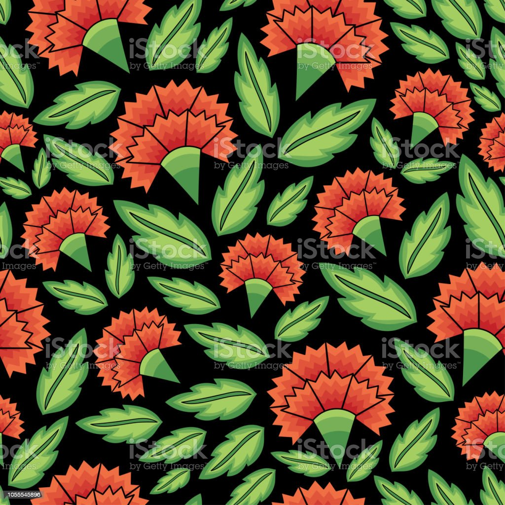 Flowers mexican folk pattern vector seamless. Traditional tehuana huipil floral embroidery ornament. Vintage red carnation background for day of the dead party, wallpaper, gift wrapping paper.