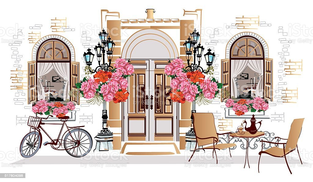 Flowers, old town views and street cafes. vector art illustration
