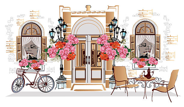 flowers, old town views and street cafes. - london fashion stock illustrations, clip art, cartoons, & icons
