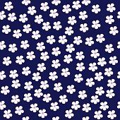 Flowers on dark blue background, seamless design