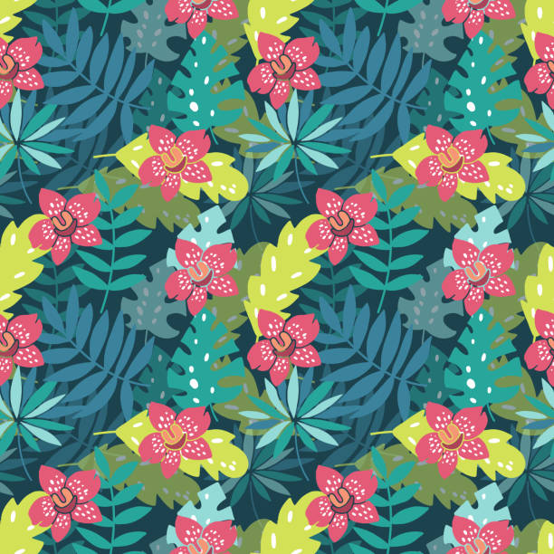 flowers on paradise seamless pattern - jungle stock illustrations
