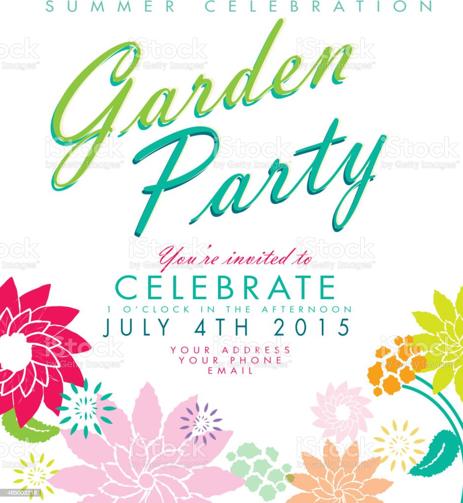 Flowers On White Background Garden Party Invitation Design Template