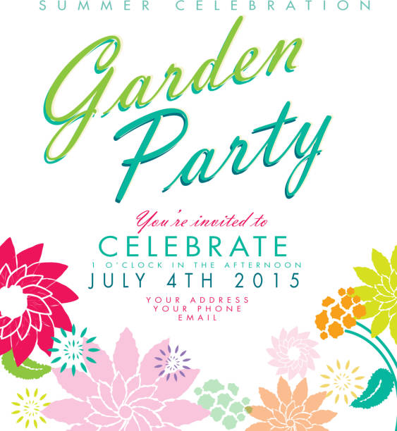 Flowers on white background Garden Party invitation design template vector art illustration