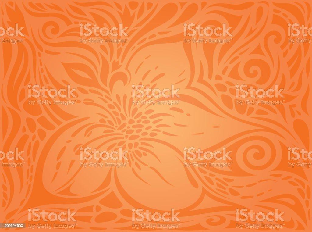 Blumen Orange Retro Style Bunt Geblümte Tapete Hintergrund Stock ...