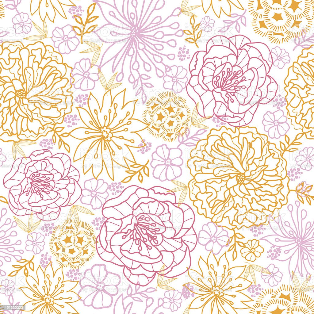 Flowers outlined seamless pattern background royalty-free stock vector art