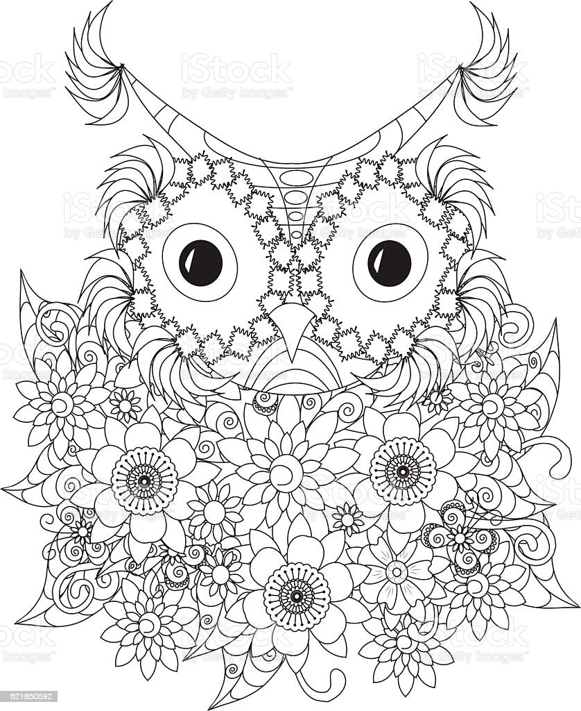 Flowers Owl Coloring Page Anti Stress Royalty Free Antistress