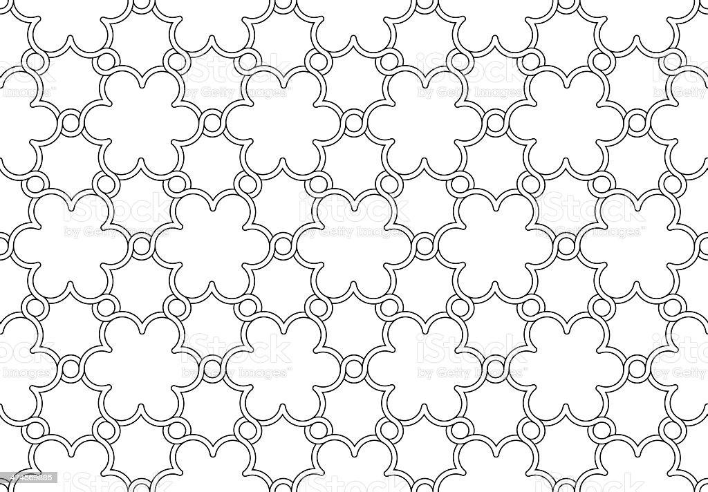 flowers pattern black and white ornament vector art illustration
