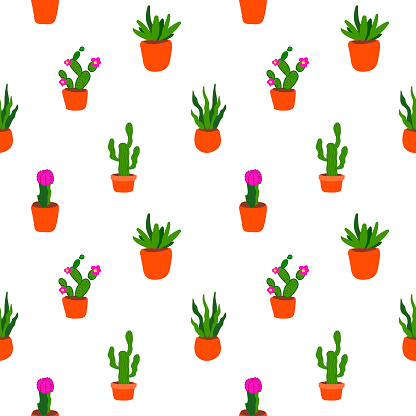 flowers pattern on white background.Floral seamless pattern with houseplant. seamless pattern of flowers in a pot on a white background. Design for T-shirt, textile and prints,postcard,bed linen,cover