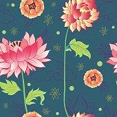 pattern with lotus flowers, peonies and chrysanthemums