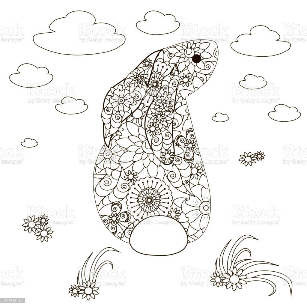 Blumenkaninchen Färbung Antistress Seitenvorrat Vektor Illustration ...