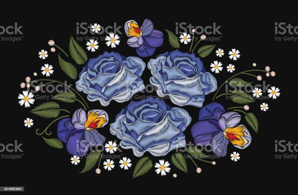 Flores Rosas Y Pensamientos Aislados Sobre Fondo Negro Ilustración ...