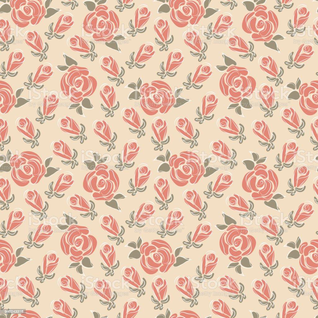 Flowers Roses Vintage Pink Floral Background Floral Seamless Pattern