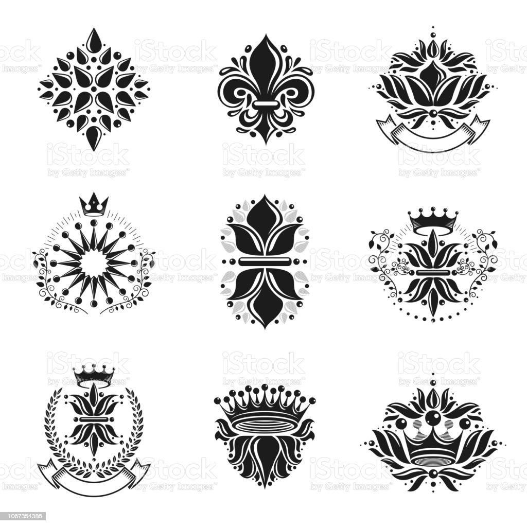 Flores, Royal simbolos, floral e coroas, conjunto de emblemas. Brasão heráldico logotipos decorativos isolaram coleção de ilustrações vetoriais. - ilustração de arte em vetor