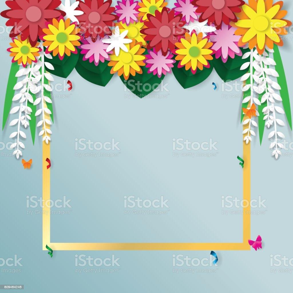 Flowers Sale Banner Paper Art Concept Stock Vector Art 809464246