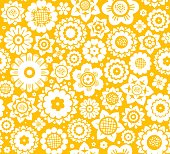 White decorative flowers on a yellow background. Floral seamless background.
