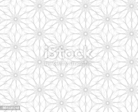 istock Flowers. Seamless pattern of flowers on white background 864435248